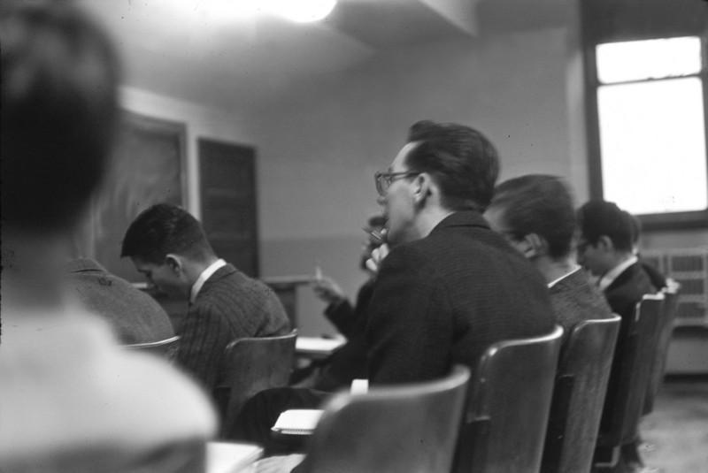 Freeman Hall classroom west.  Bruce Gerken, Joe Hennessey.