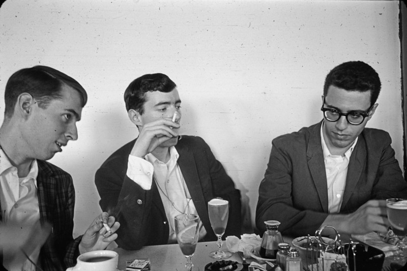 In the restaurant of the China Pavilion.  Left to right -- Denis Cullinan, Chemistry 1964, me, Al Grippo, Physics 1964.