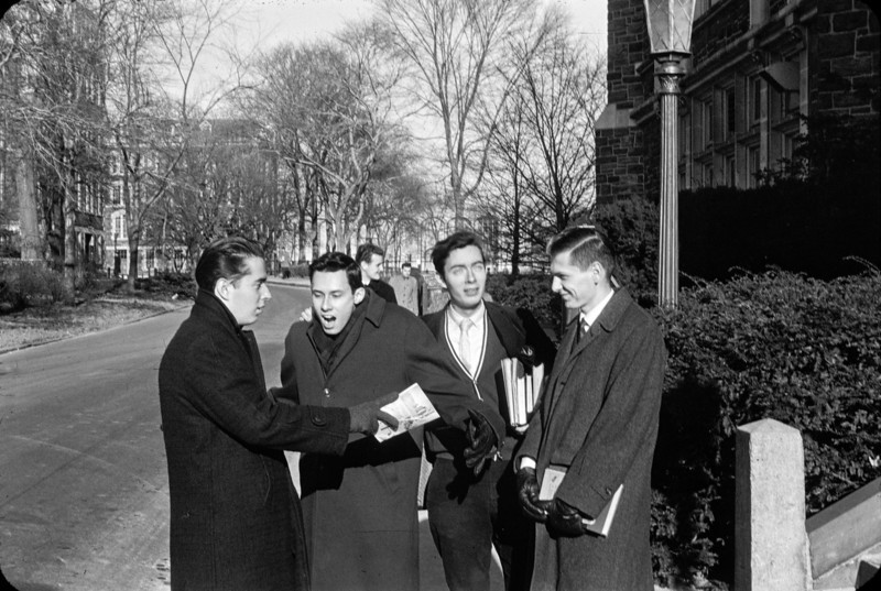 Second from left is Dick Cuzzi-Spada, who is today a respected medical researcher.  This is outside the front of the Chem Building.