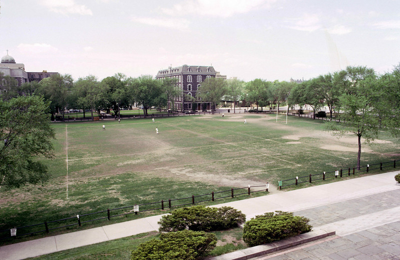 Edwards Parade Ground as seen from Keating Hall, with the Prep Building in the background.