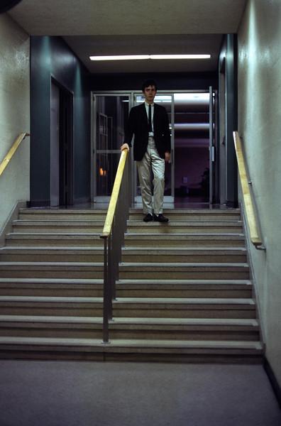 Me Descending a Staircase.  Campus Center.
