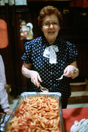 Buffet party in the auditorium, Nov. 24, 1985.