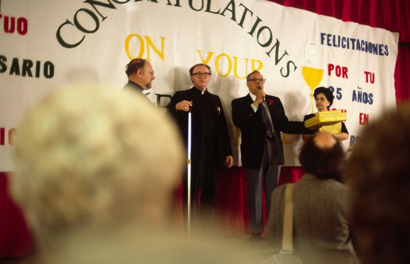 L-R: Fr. Ed Wilkinson, Fr. Kelly, John Viola, Phyllis Butera.