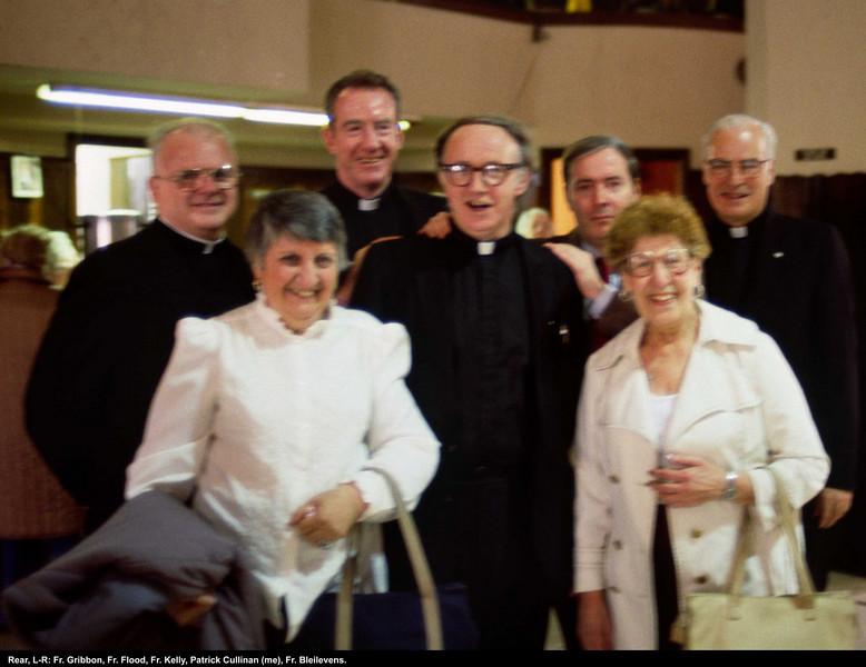 Back, L-R: Fr. Gribbon, Fr. Flood, Fr. Kelly, Patrick Cullinan (=me), Fr. Bleilevens.