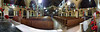 Panoramic view from the Communion rail area.  Msgr. Kelly is talking with Ernie Bingel and his wife and another lady.