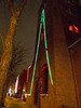 The bell tower on Linden Street is decorated with some lights.