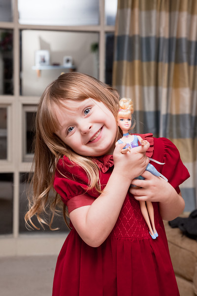 Sweet Olive and her Barbie doll.