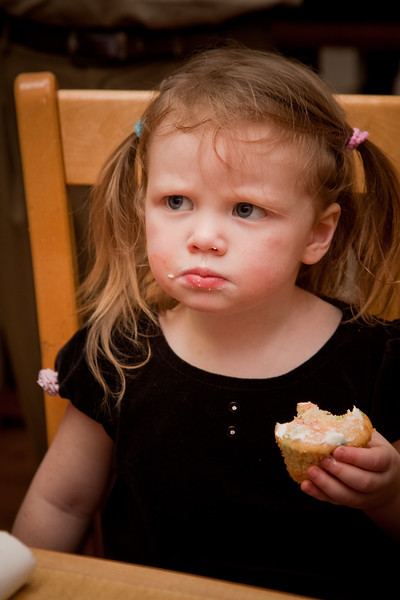 "Miraed:  ""Hey, this cupcake doesn't have any frosting!"""
