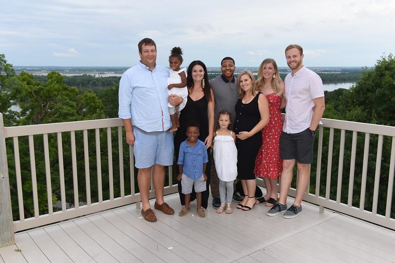 (Matt's) Leslie & Chris Hamm Family w/ Chris, Luna, Leslie, Langston, & Plager. Also (Matt's) Rebeca & Daniel Hawthorne, and Erica & Jordan Willimann
