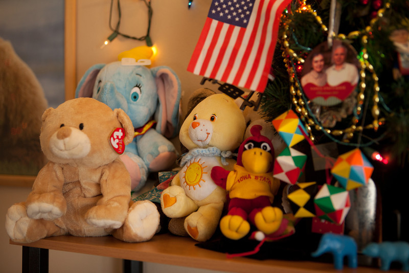 The bear on the left is a gift from Alice's uncle in Ames.