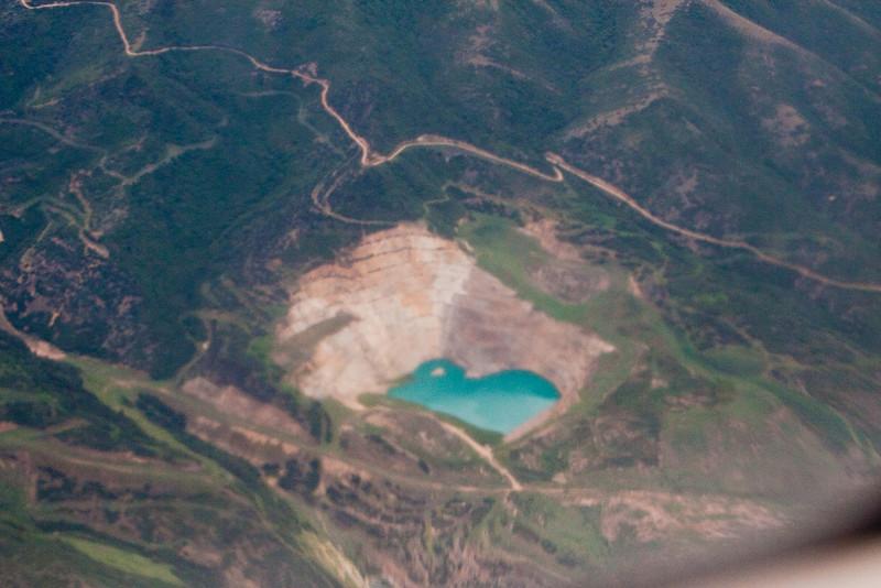 Our decent into Salt Lake City, UT. Salt Lake City salt quarry.