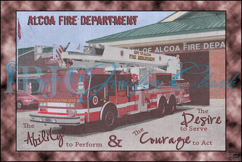 Alcoa Fire Truck framed with a vintage cartoon look.