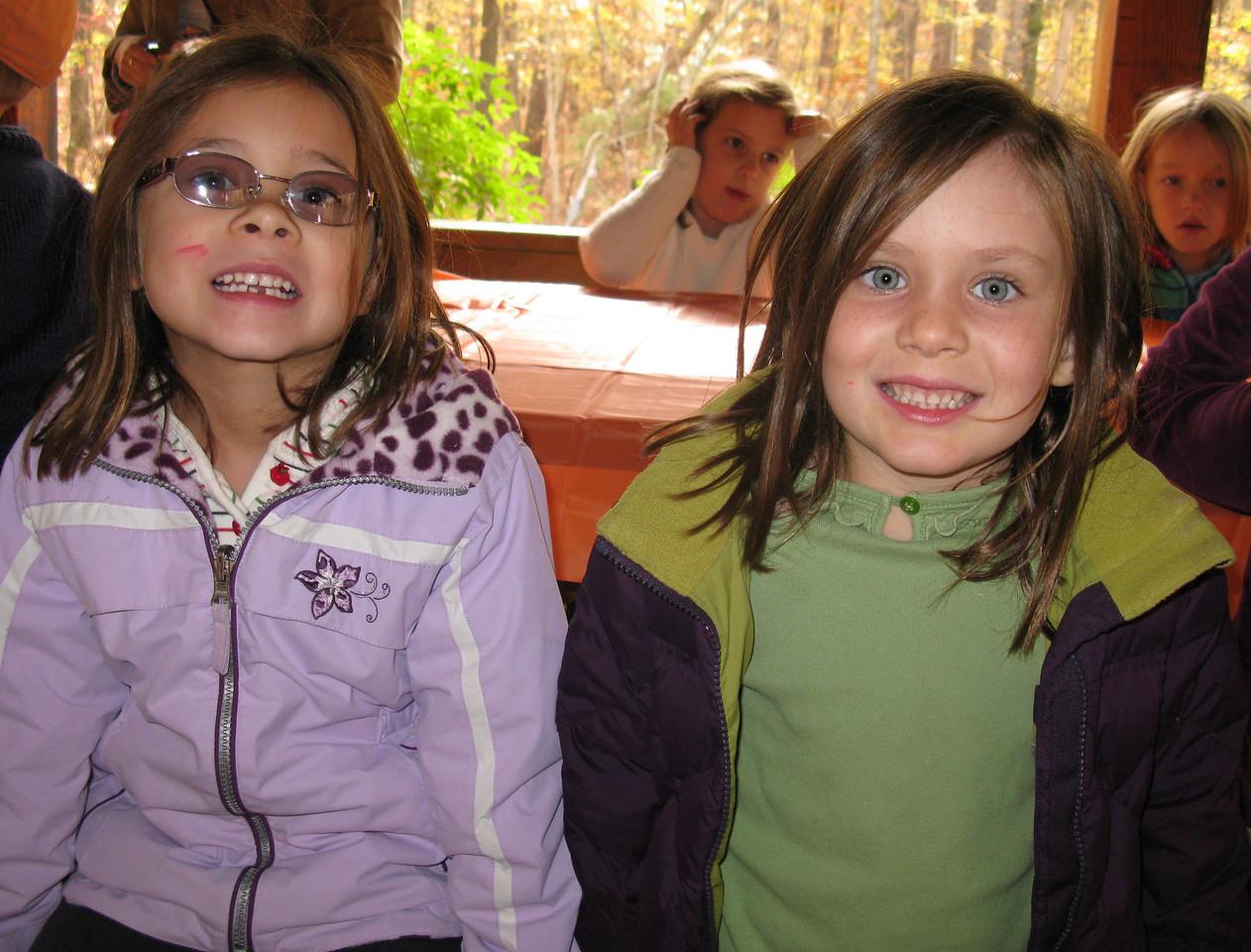 Kindergarten trip to Jordan Lake - Anna and Kate