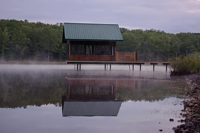 Charles and Sachiko's cabin on their misty lake near Mountain View, Missouri.