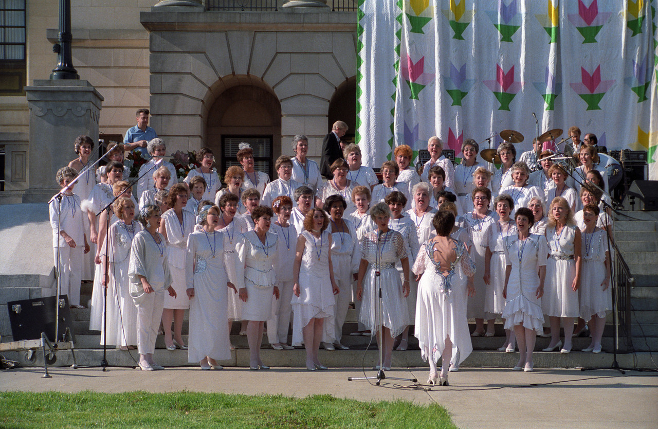 Patti sings with the Pride of Kentucky Chorus - 1988.  Patti is second row (first step from the bottom) on the far right of the photo.