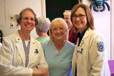 Carol, Sharon, and Lori; Sharon's retirement party, 10/20/11