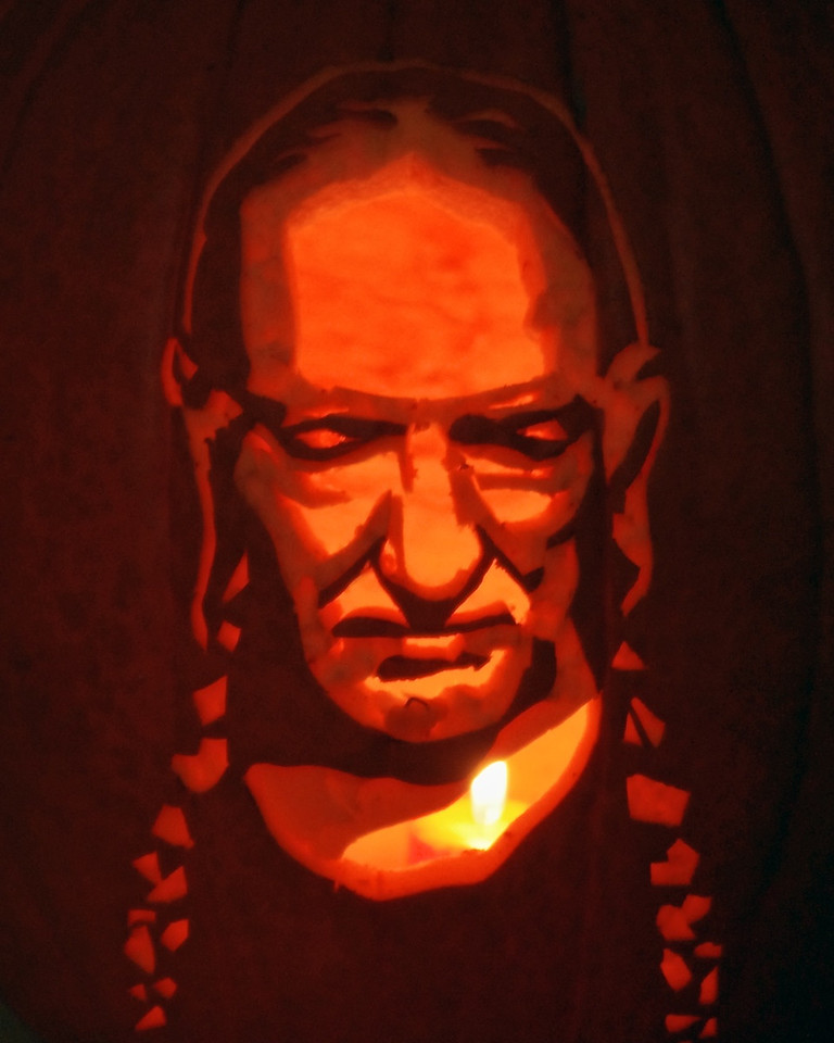 Willie Nelson jack-o-lantern carved by Mike for Sharon's retirement party, 10/20/11