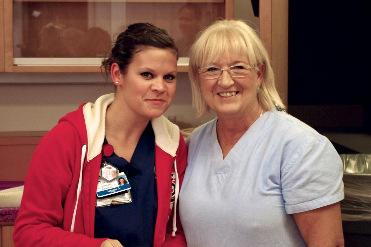 Jennifer and Sharon; Sharon's retirement party, lab, 10/20/11