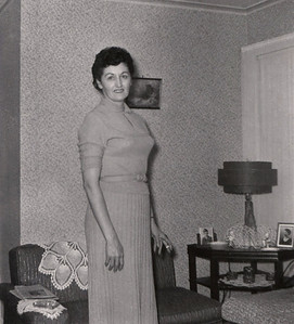 Hazel (Doss) Davenport in her living room. Photo processing date is Oct. 1959.