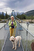 Mary and Misty on the bridge across the North Saskatchewan River