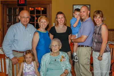 Mom's 90th birthday celebration in Toledo about 1-1/2 weeks after the event, due to school schedules of great-grandchildren; gatherings at Ted & Beth's & at Mancy's Italian Grill, 5453 Monroe St (outside city of Toledo - in Sylvania?)