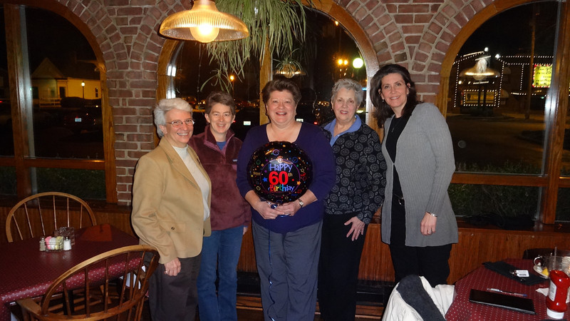 Sarah rounded up the old gang for Marsha Leistner's birthday party.  January 3, 2013