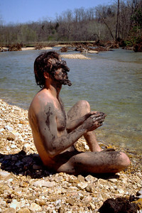 Mud man. Swan Creek, Missouri. Spring, 1979.