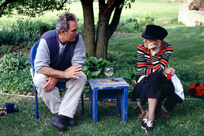 Gerald talking to Mrs. Scott, his high school art teacher at Gary and Rita's house near Brookline, Mo. Mid 1990s