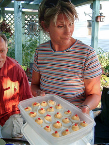 Charla with some deviled eggs. July 2005