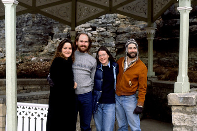 Lisa, Tim, Rita, and Gary in a gazebo at Eureka Springs, Arkansas. November 1992