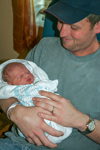 Henry, 1 day old, still at Johnston Willis; with David, proud dad
