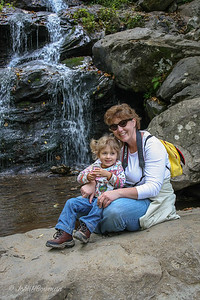 Late September, took Isabella & Carol to Shenandoah National Park to see mountains & a waterfall; Skyline Drive N from US 33 to Big Meadows with stops at South River picnic area for restroom & Baldface Mountain overlook for distance view; lunch at Big Meadows, then Dark Hollow Falls; we wondered how Isabella would do hikiing to falls at not quite 3 years old, but she hiked down & back without once needed to be picked up, and had enough energy to run some laps in the grass when we got back to Big Meadows area; a nice bonus was seeing a lot of deer at Big Meadows (Skyline Drive MP 51.2 at S entrance, elevation 3510 ft); Carol & Isabella at Dark Hollow Falls - note Isabella's hiking boots