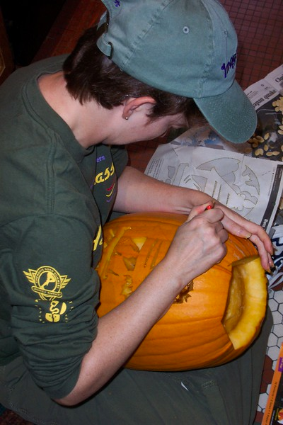 This is Patti's second year with the fancy pumpkin-carving tools.  2004