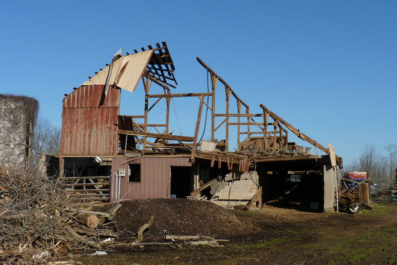The old barn - pretty much ravaged.  Henryville tornado cleanup - March 10, 2012
