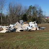 Giant pile of metal debris that has been gathered together from the surroundng fields.  Henryville tornado cleanup - March 10, 2012