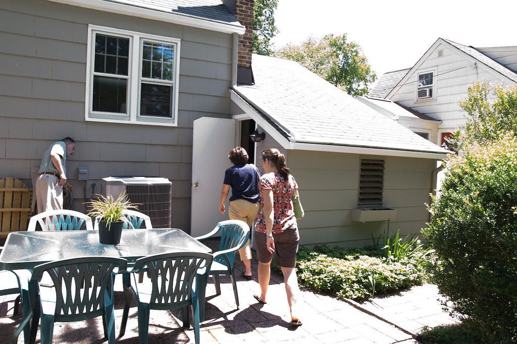 patio and garage entrance