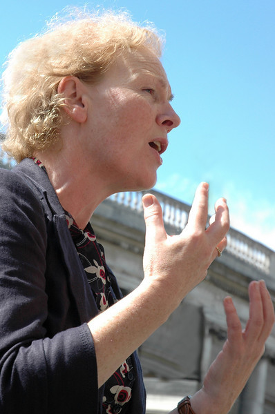 Noeline Blackwell, Director General of Free Legal Advice Centers (FLAC) ouside Trinity College in Dublin
