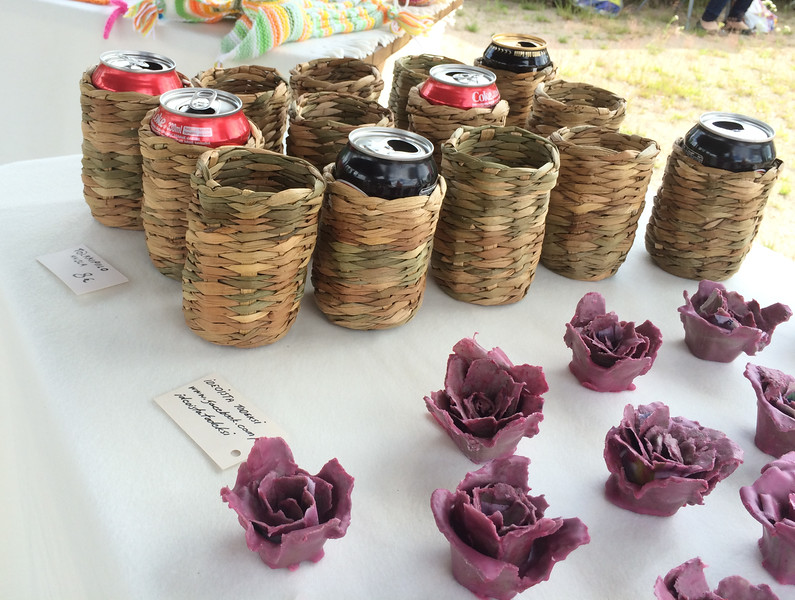 Local craft vendors had interesting wares including the koosies woven with reeds.
