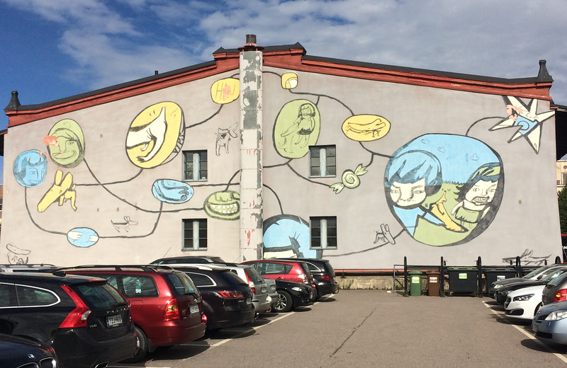 Jay, Milla, Lilja and Tom took the ferry to Tallinn, after parking in a colorful parking lot.