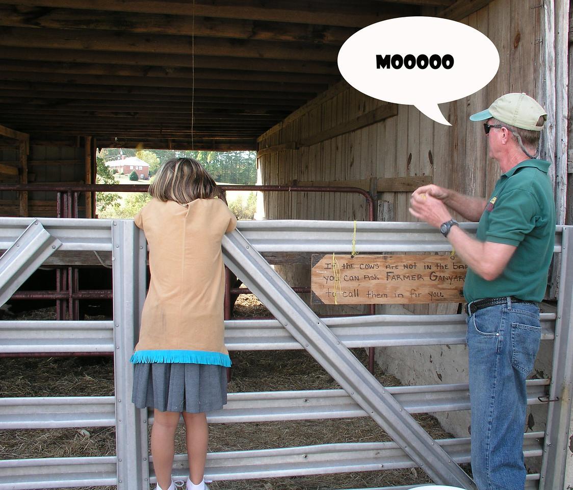 Farmer Ganyard got us to help call the cows.