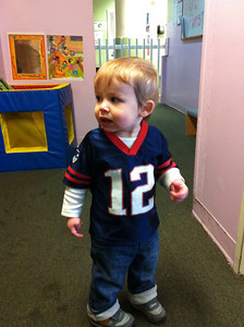 Luca's daycare had a Patriot's day in preparation for this weekend's game.  Luca was proudly wearing his Tom Brady jersey.