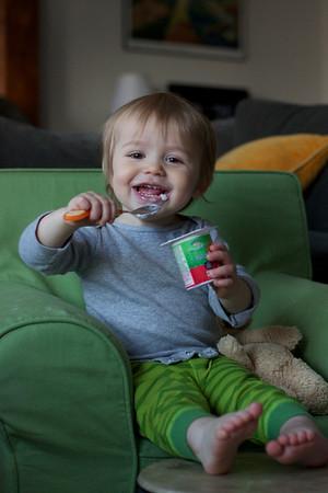morning routine - yoyo (aka yogurt) with his stuffed animal Bobo