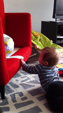 Luca loves pulling himself up now.