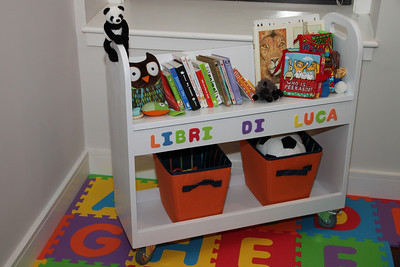 I finally finished this Childrens Library Cart.  It was a bit tough since I don't have a workspace.  It came out OK for my first project in awhile.