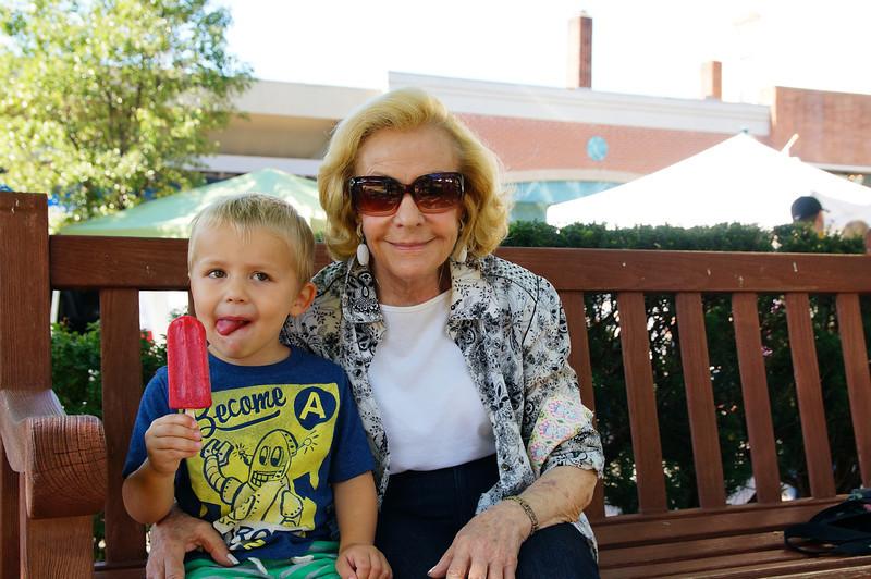 Enjoying the farmer's market with Great-grandma Helene (aka Gigi).