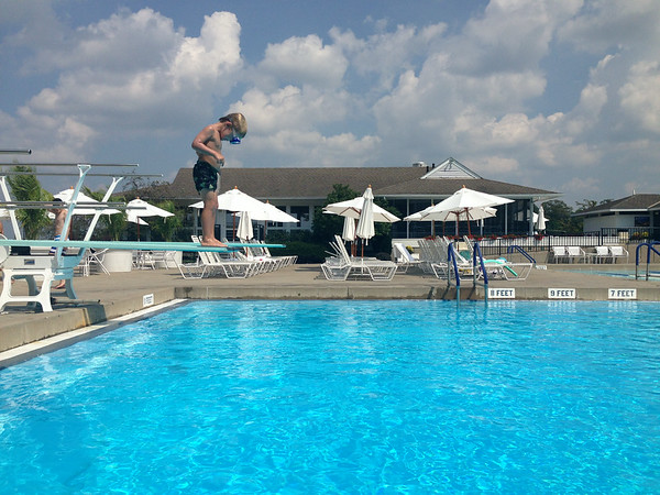 First time jumping off the diving board!