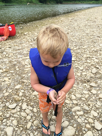 Luca caught a tadpole.