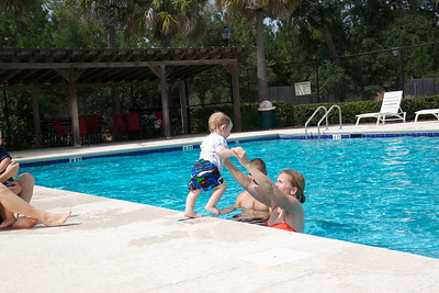Luca loves the water and had a lot of fun playing at the pool with his cousin and Aunt and Uncle.