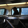 The groom rides alone (on a crowed caltrain)