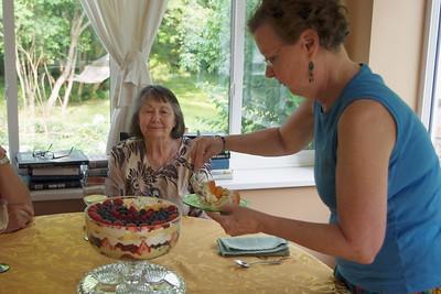 Rita serving desert for Norma. June 2, 2011.